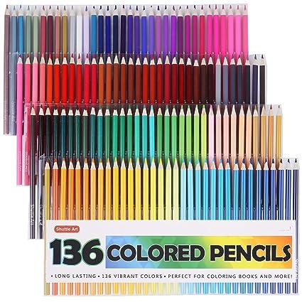 Amazon Com Shuttle Art 136 Colored Pencils Soft Core Color Pencil