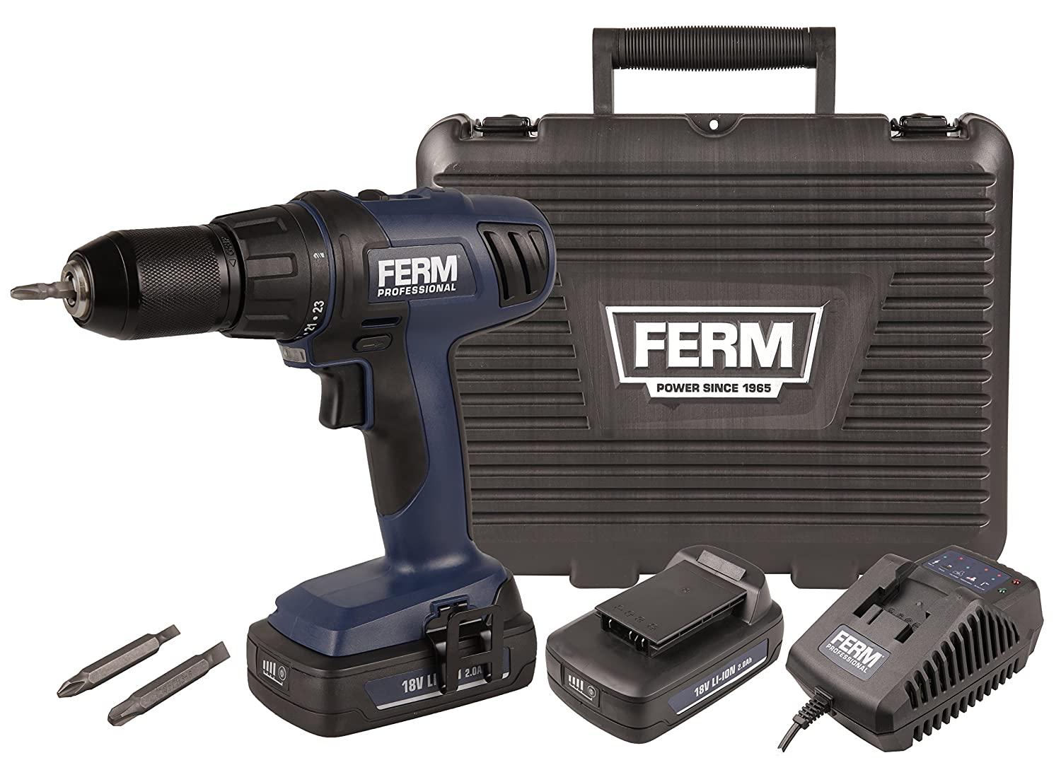 FERM CDM1122P Professional Cordless Drill-18V 2,0Ah-2 Speed-Torque 50Nm-with 2 18V Lithium-Ion Batteries, 2 Screwdriver bits and a Storage case, 18 V, Black/Blue