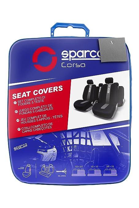 SPARCO SPC1012 Satz Abdeckungen f/ür Autositze Classic Modell Grey 40 x 34.5 x 11 cm schwarz und grau 11 St/ück