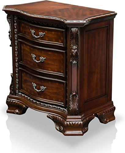 HOMES Inside Out ioHOMES Claudio Baroque Style 3-Drawer Nightstand, Walnut