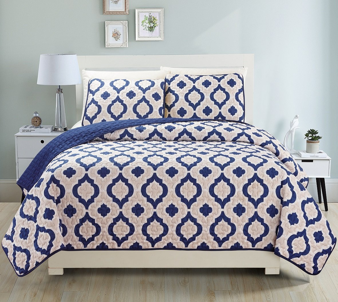 Fancy Collection 3pc Bedspread Bed Cover Reversible Beige