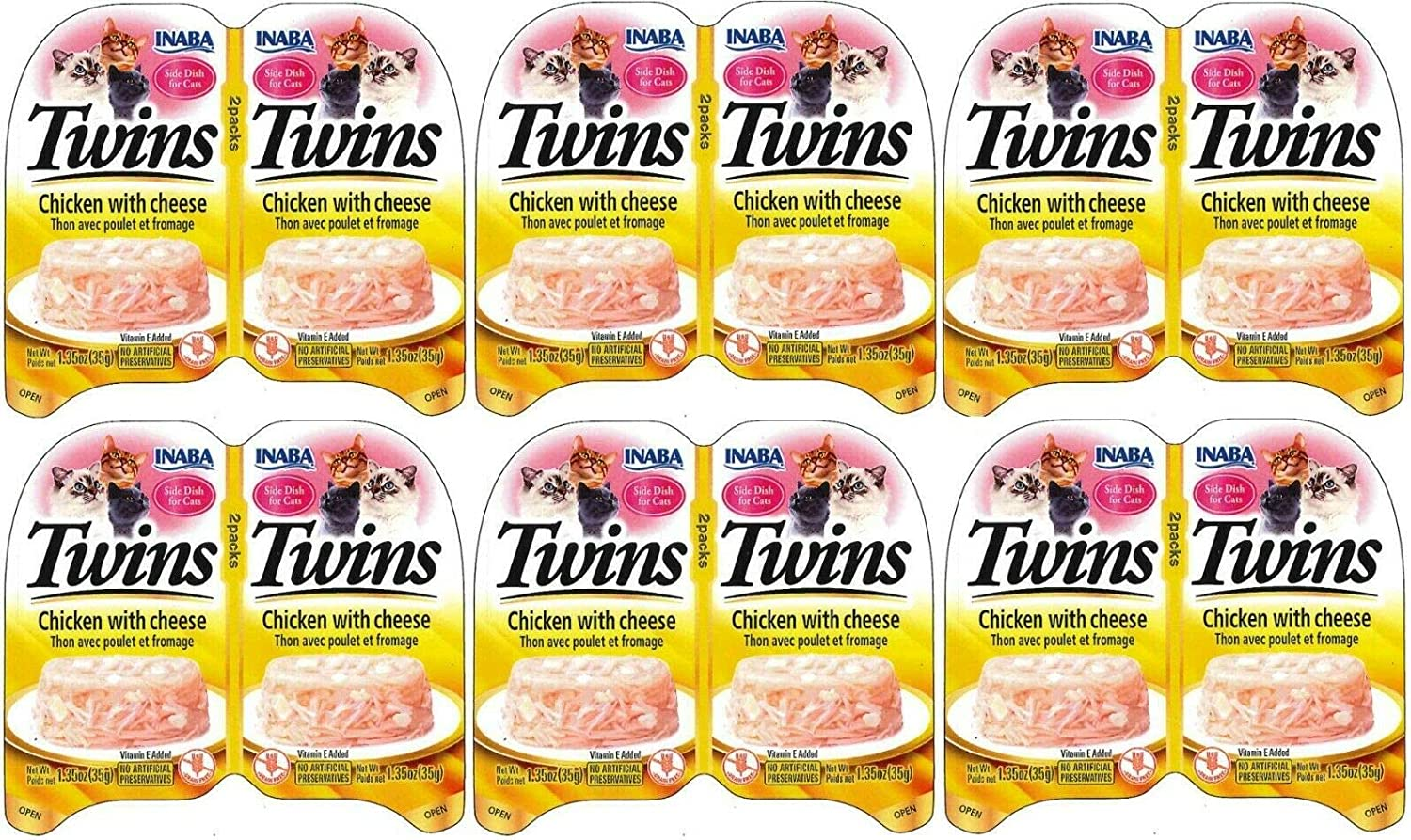 INABA Twins - Shredded Tuna and Chicken Flakes in Savory Tuna Broth Gelée with Scallop, Chicken, Salmon, or Cheese - Side Dish Treat for Cats