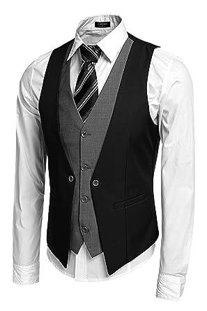 Coofandy Gilet de Costume Homme Veste sans Manche Casual Mariage Noir  Taille S 070252f9f61