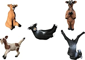 "Bella Haus Design Yoga with Goats Figurines Set of Five Goat Statue Action Figures, Goat Yoga Decor- 3"" Goat Yoga Poses"