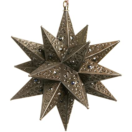 12 Inch Moravian Hanging Tin Star Light - Flower Cut with Marbles ...
