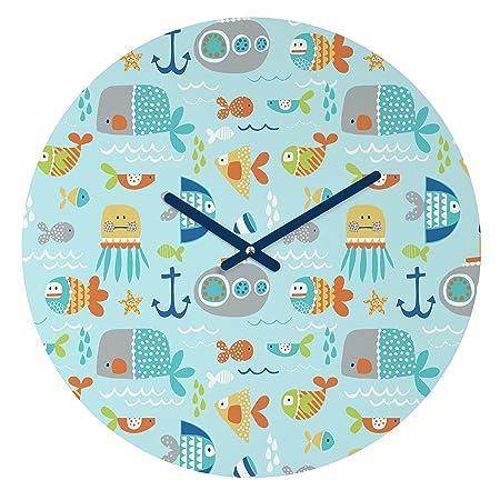 DENY Designs Wendy Kendall Sealife Round Clock, 12 Round
