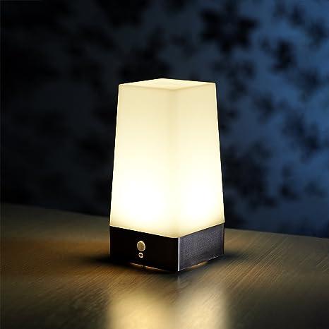 Auraglow Luz Nocturna Inalámbrica con Sensor PIR de Movimiento para Lámpara de Mesa LED Super Brillante, alimentada por Batería