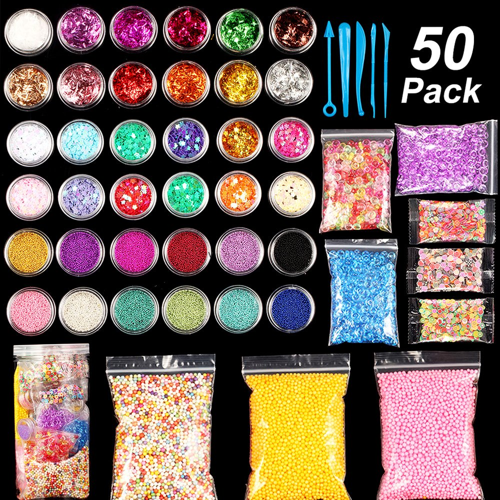 Slime Making Supplies Kit, 50 Pack Slime Beads Charms Include Fishbowl Beads, Foam Balls, Fruit Flower Cake Slices, Glitter Jars, Slime Accessories Tools for DIY Art Craft Homemade, Child Slime Party by Irissyc
