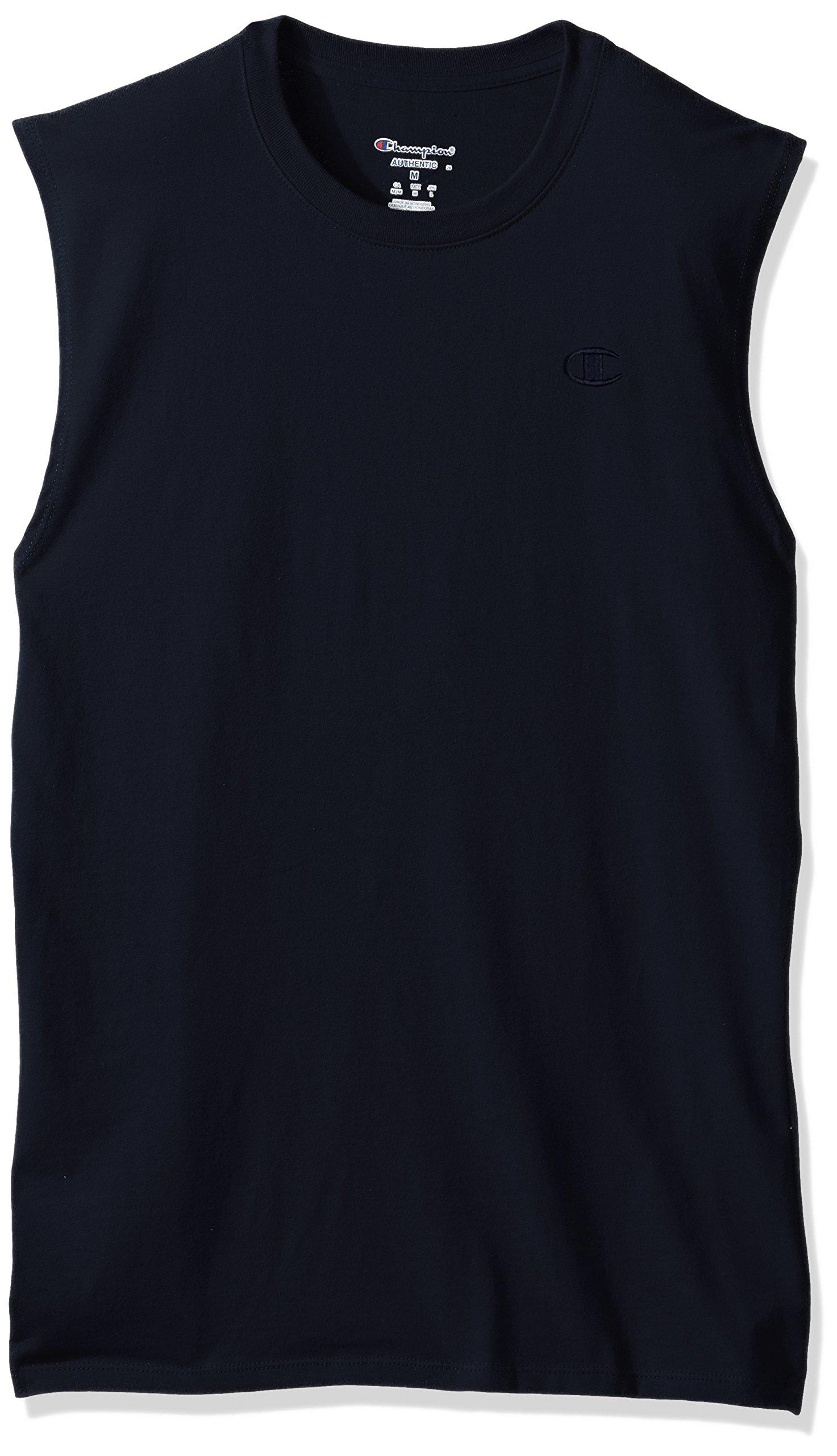 Champion Men's Classic Jersey Muscle T-Shirt, Navy, 2XL