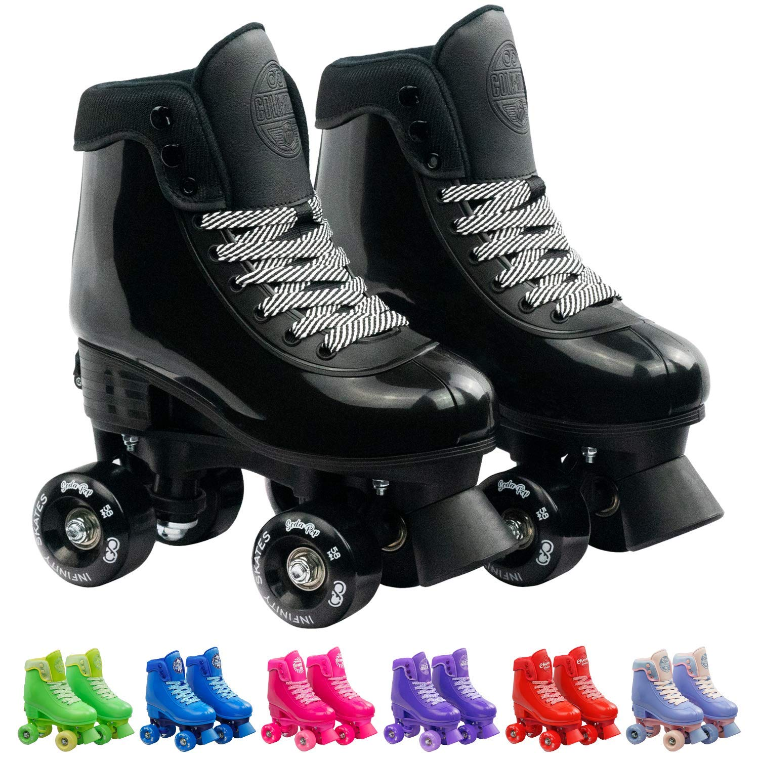 Infinity Skates Adjustable Roller Skates for Girls and Boys - Soda Pop Series (Black/Small)