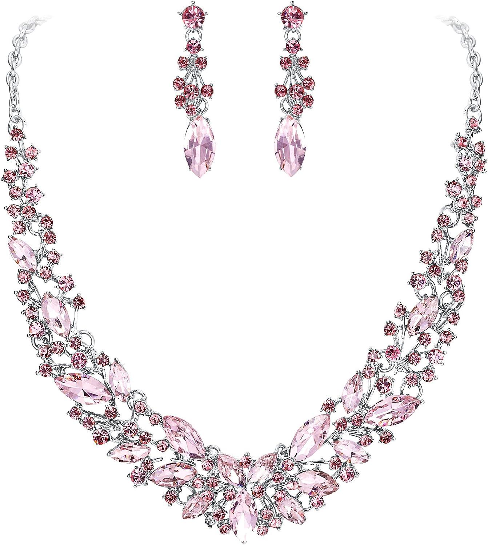 Clearine Juegos de Joyas de Mujer Cristal Lágrimas Encaje Collar y Pendientes para Novia Boda Fiesta