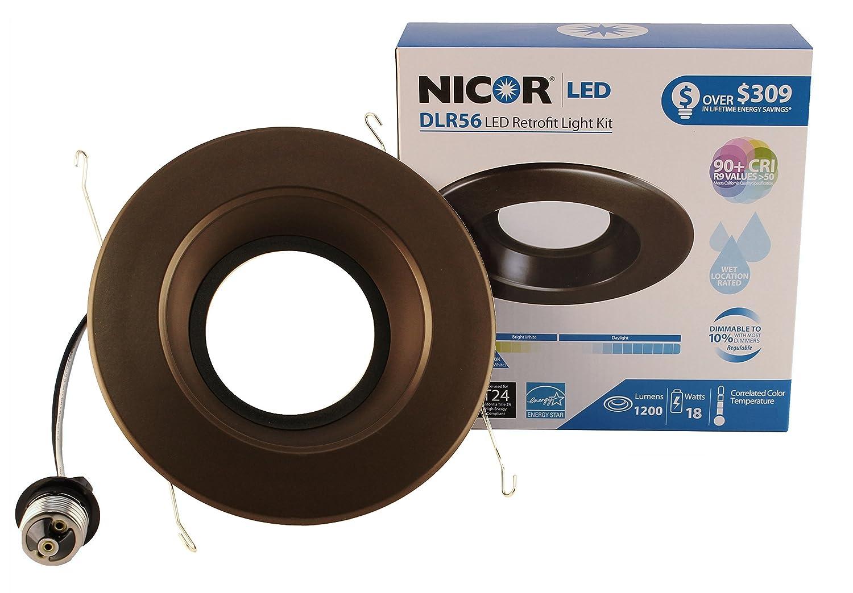NICOR Lighting 5/6-Inch Dimmable 1200-Lumen 5000K LED Downlight Retrofit Kit for Recessed Housings Oil-Rubbed Bronze Trim (DLR56-3012-120-5K-OB) ...  sc 1 st  Amazon.com & NICOR Lighting 5/6-Inch Dimmable 1200-Lumen 5000K LED Downlight ...