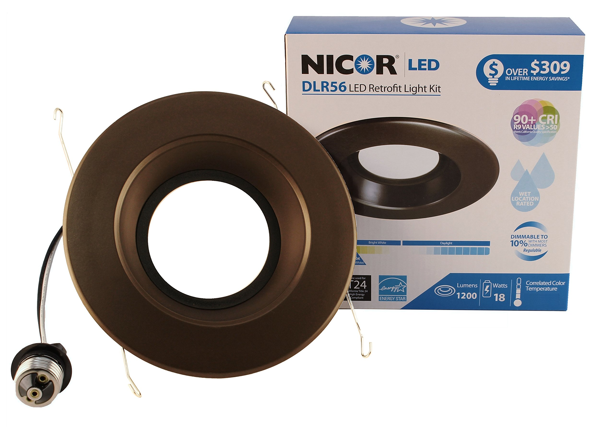 NICOR Lighting 5/6-Inch Dimmable 1200-Lumen 5000K LED Downlight Retrofit Kit for Recessed Housings, Oil-Rubbed Bronze Trim (DLR56-3012-120-5K-OB)