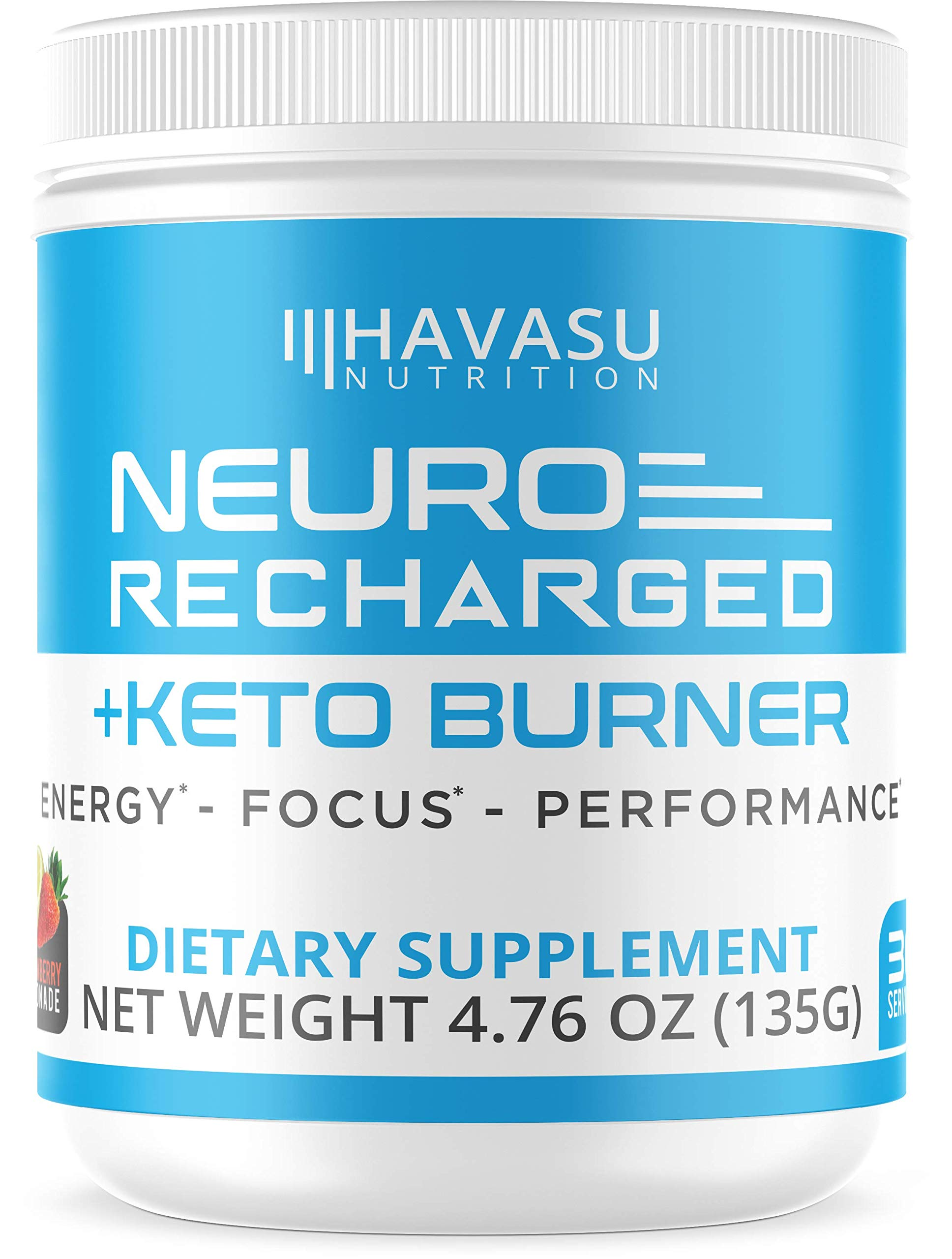 Havasu Nutrition Extra Strength Keto Brain Supplement for Energy & Focus - Mental Performance Nootropic & Pre Workout with Natural Caffeine, Ginkgo Biloba & More - No Crash Brain Booster 4.76 OZ (135G) by Havasu Nutrition