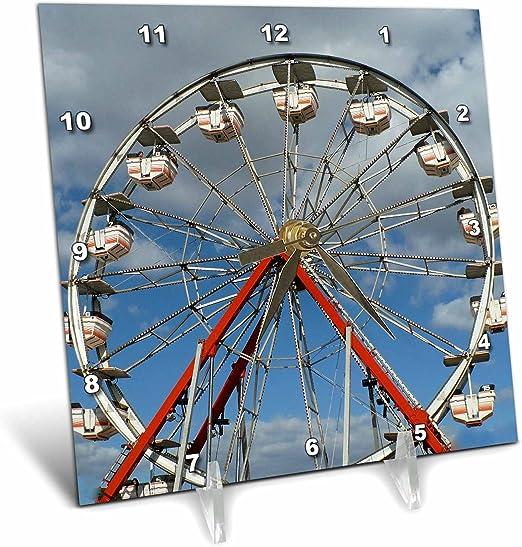 3dRose dc/_7451/_1 Desk Clock Carnival Ride 6 by 6-Inch