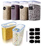 Cereal & Dry Food Storage Containers, VALUXE Airtight Plastic Kitchen Storage Organizer, Set of 6 [2.5L / 85.4oz] for…