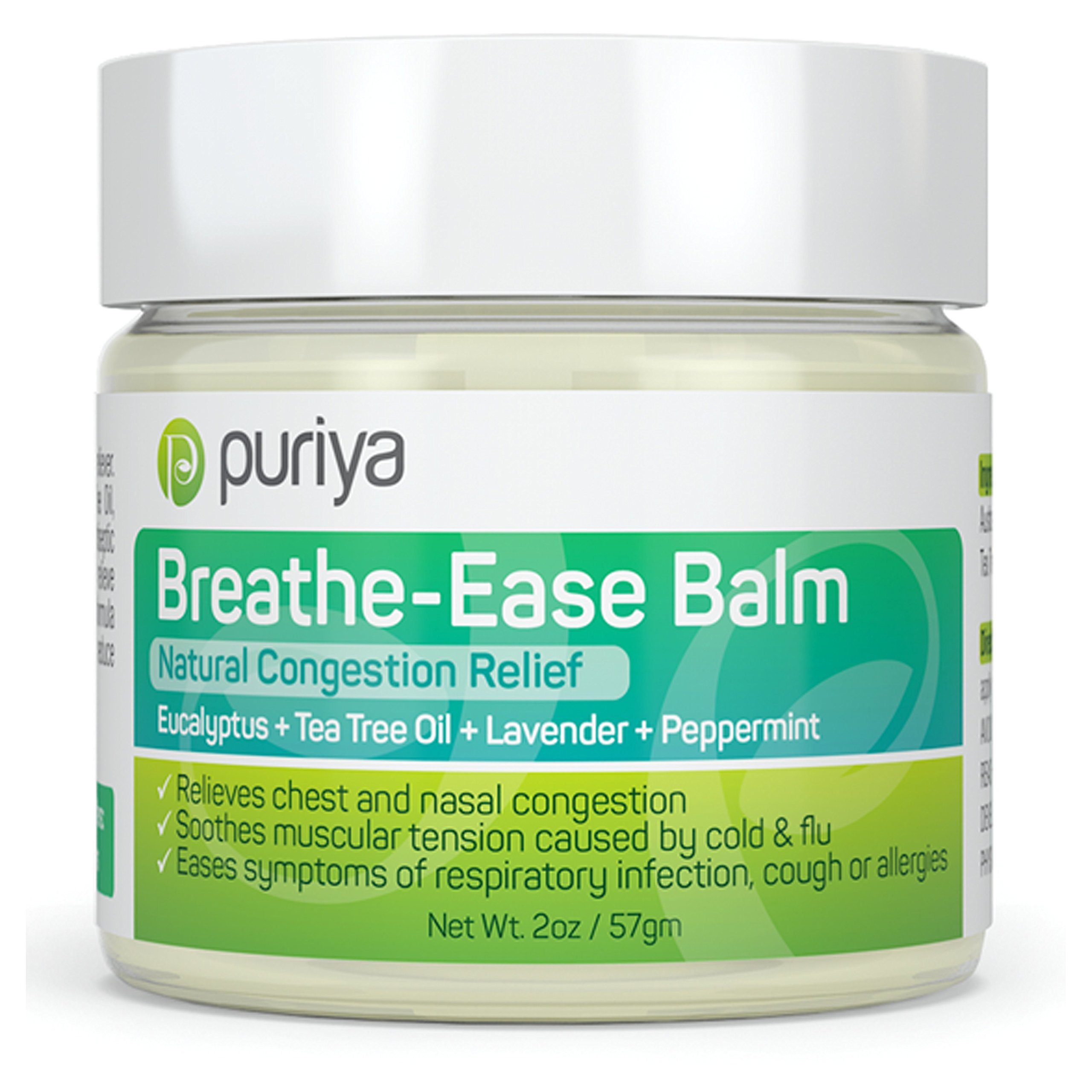 Puriya Chest Rub. Feel Instantly Better When You Rub This Aromatic Blend of Peppermint, Eucalyptus, Tea Tree and Lavender on Chest of Under The Nose. Plant-Based. Safe for Children and Parents. by Puriya