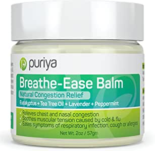 Puriya Chest Rub for Congestion Relief, Breathe Ease Balm with Plant-Rich Active Formula of Eucalyptus, Lavender and Tea Tree Oils, Soothes and Relieves Cold, Flu, Cough, Safe for Children and Adults