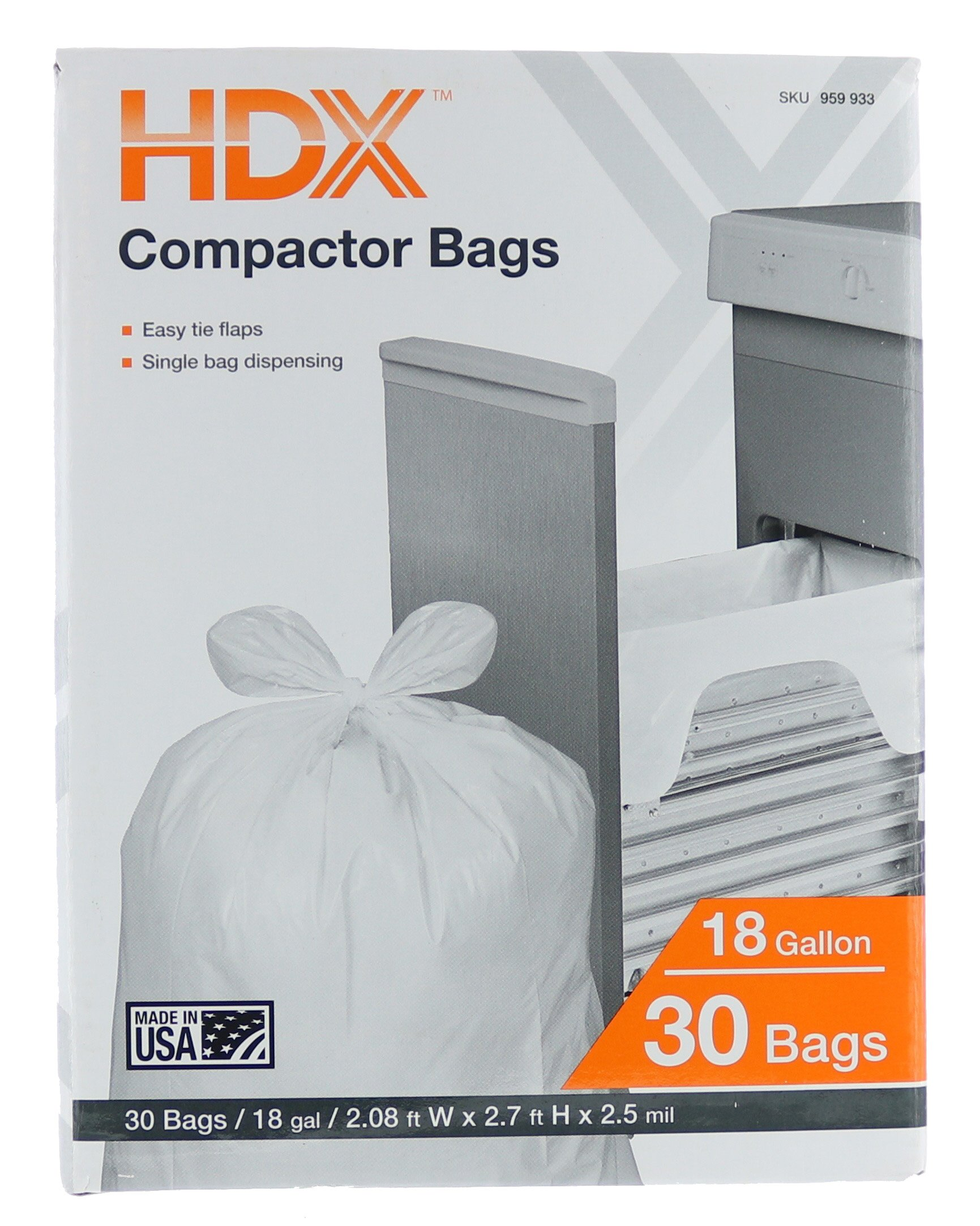HDX 959933 18 Gallon 2.5 Mil Trash Compactor Bags w/ Tie Flaps (30-Count) (Made in USA)