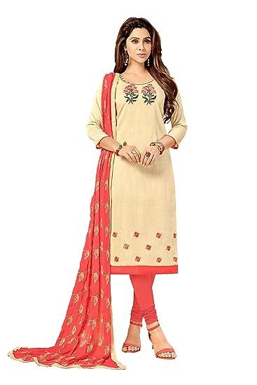 bdbf9e13d738 Viva N Diva Salwar Suit Dupatta For Women's Cream Embroidery Cotton Slub  Un-Stitched Salwar