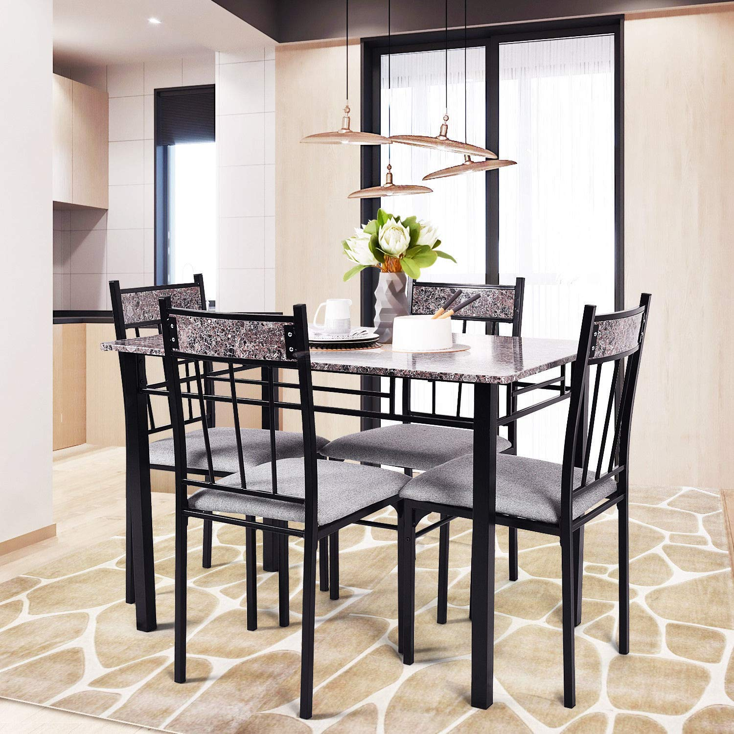 House Eats Stand Whit Stool 5 Piece PVC Marble Desktop Black Steel Cuisine Feed on Board 4 Backrest Gray Cloth Filled Seat Set of 5 Pcs Stylist Buffet Bar Table Chair