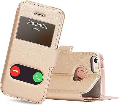 """FYY Coque iPhone Se, Coque iPhone 5S, Coque iPhone 5, Housse Magnetique Smart View avec Fenêtre d'Ouverture pour Apple iPhone Se 2016/5S/5 4.0"""" Or"""