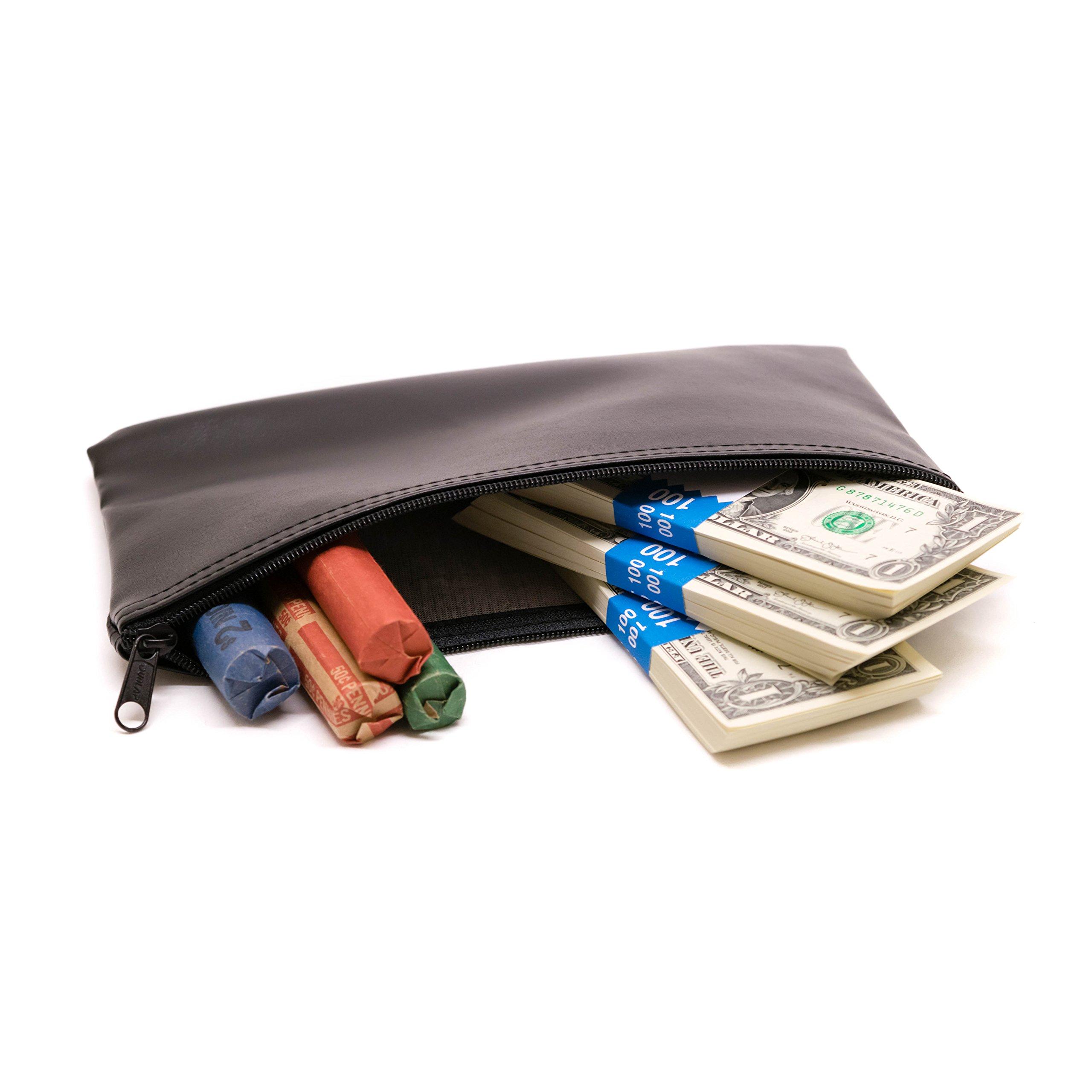 Zipper Bank Deposit Bag 5.5 X 10.5 Coin Check Money Wallet Black Pack of 5