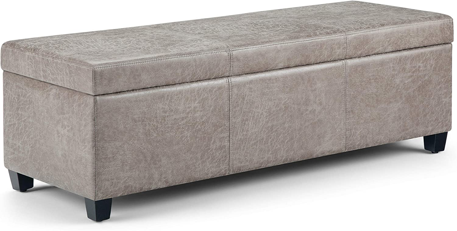 Simpli Home AXCF18-DTP Avalon 48 inch Wide Contemporary Rectangle Storage Ottoman Bench in Distressed Grey Taupe Faux Air Leather