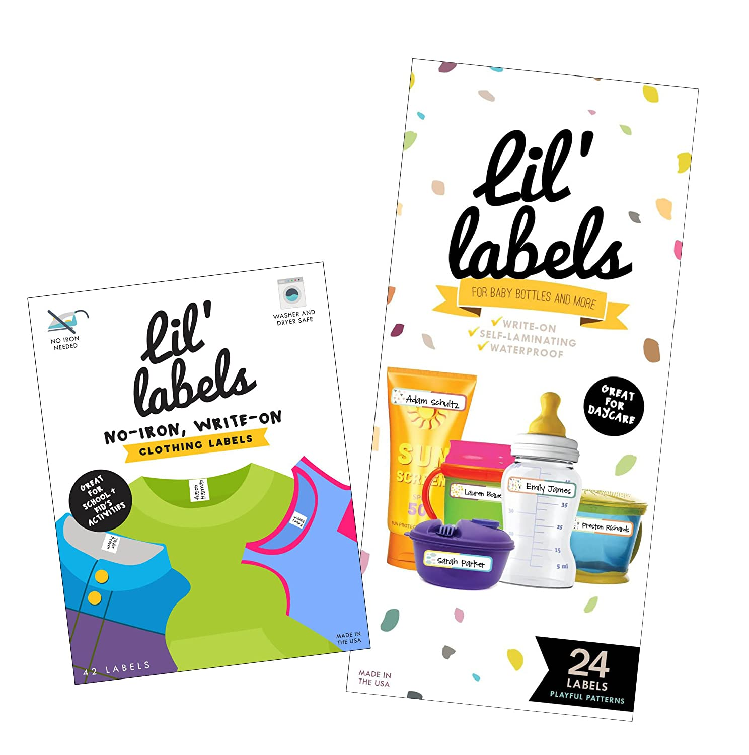 Lil' Labels Daycare Value Pack Write on Name Labels, Waterproof, Baby Bottle Labels (Playful Patterns) & Clothing Labels, Plus 2 Bonus Gifts, Bright White