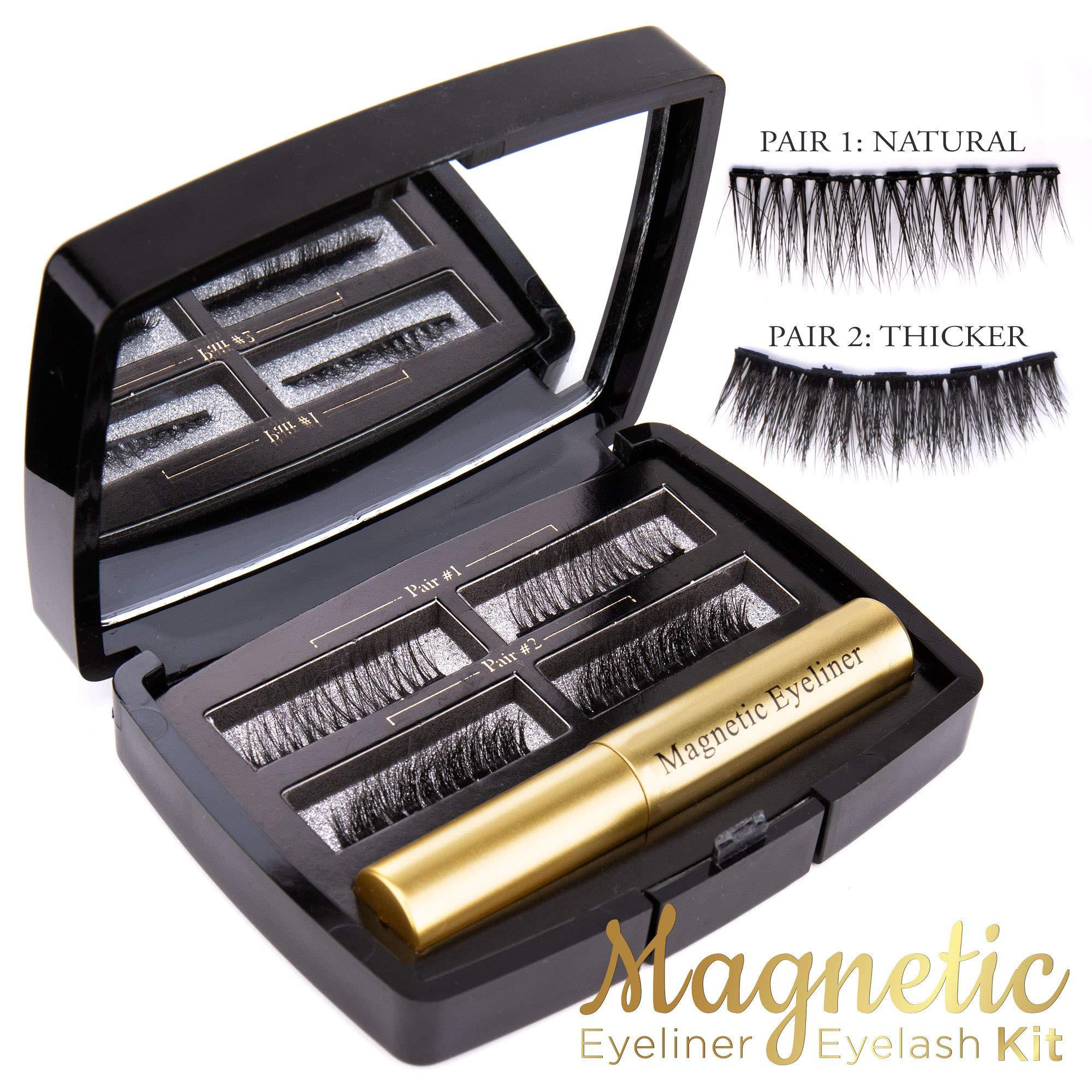 Magnetic Eyelashes with Eyeliner Kit [2 Pairs] - Magnetic Eyeliner to Use with Magnetic Eyelashes