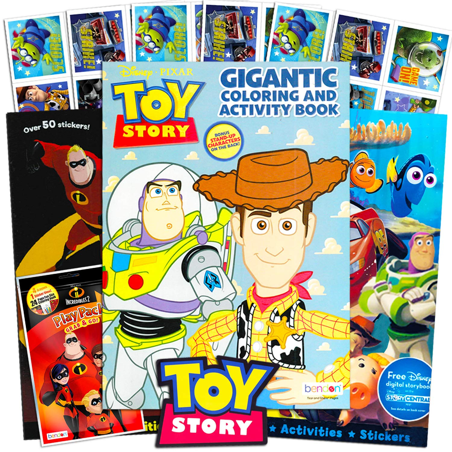 Disney Toy Story Coloring Books For Toddlers Kids Playset 3 Disney Coloring And Activity Books Crayons And Toy Story Stickers Toy Story Party