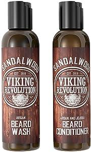 Beard Wash & Beard Conditioner Set w/Argan & Jojoba Oils - Softens & Strengthens - Natural Sandalwood Scent - Beard Shampoo w/Beard Oil (5oz)