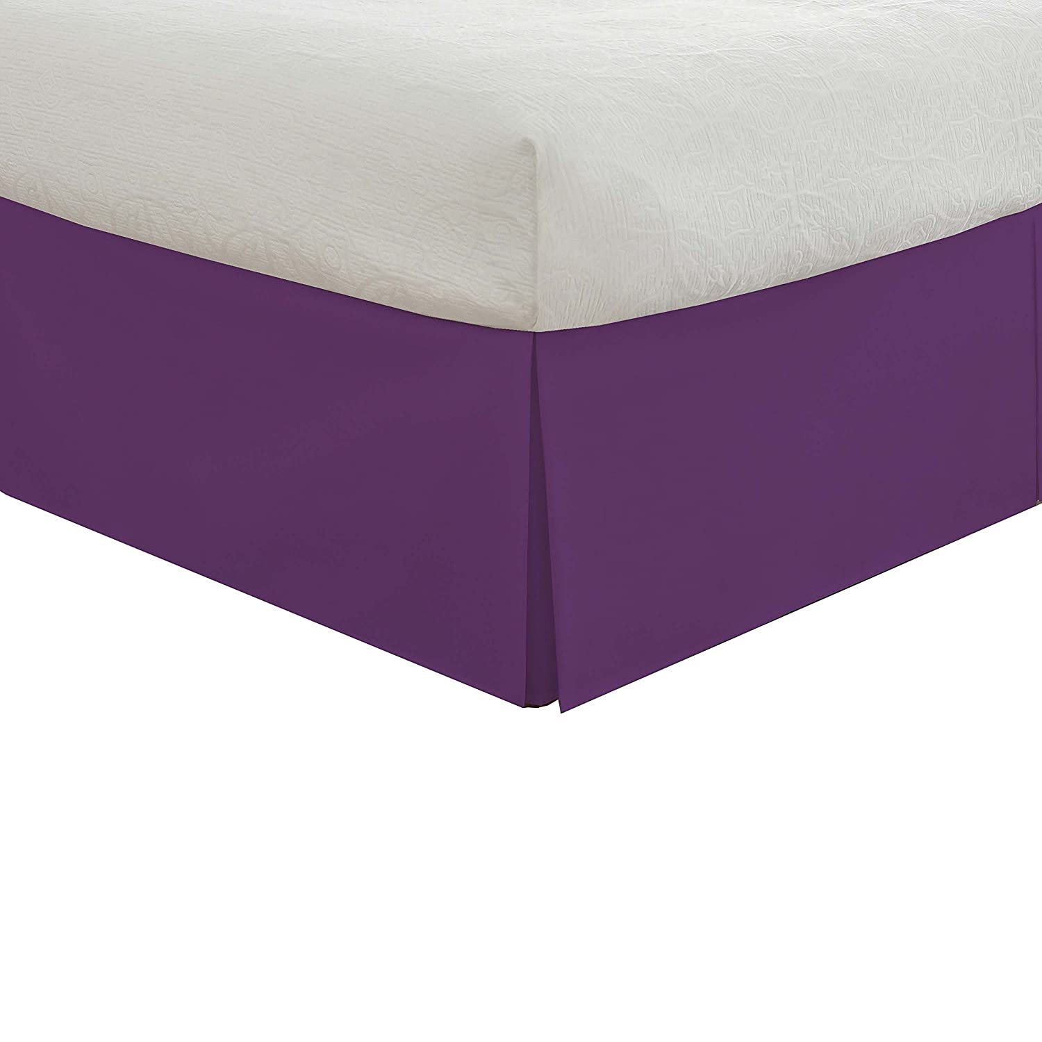 (Twin/X-Large, Purple) - Lux Hotel Bedding Tailored Bedskirt, Classic 14