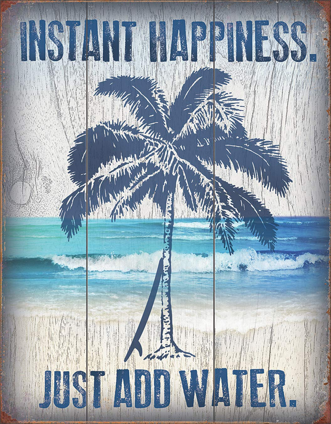 """Desperate Enterprises Instant Happiness Just Add Water Tin Sign, 12.5"""" W x 16"""" H"""
