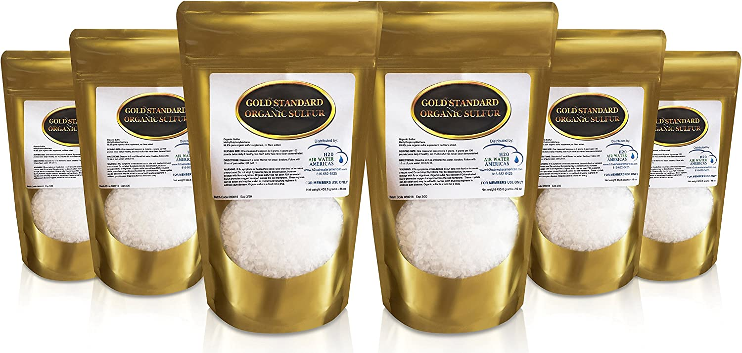 Gold Standard Organic Sulfur Crystals 6lb - 99.9% Pure MSM Crystals - Largest Granular Flakes Available! 3rd Party Tested **Same Day Priority Shipping**