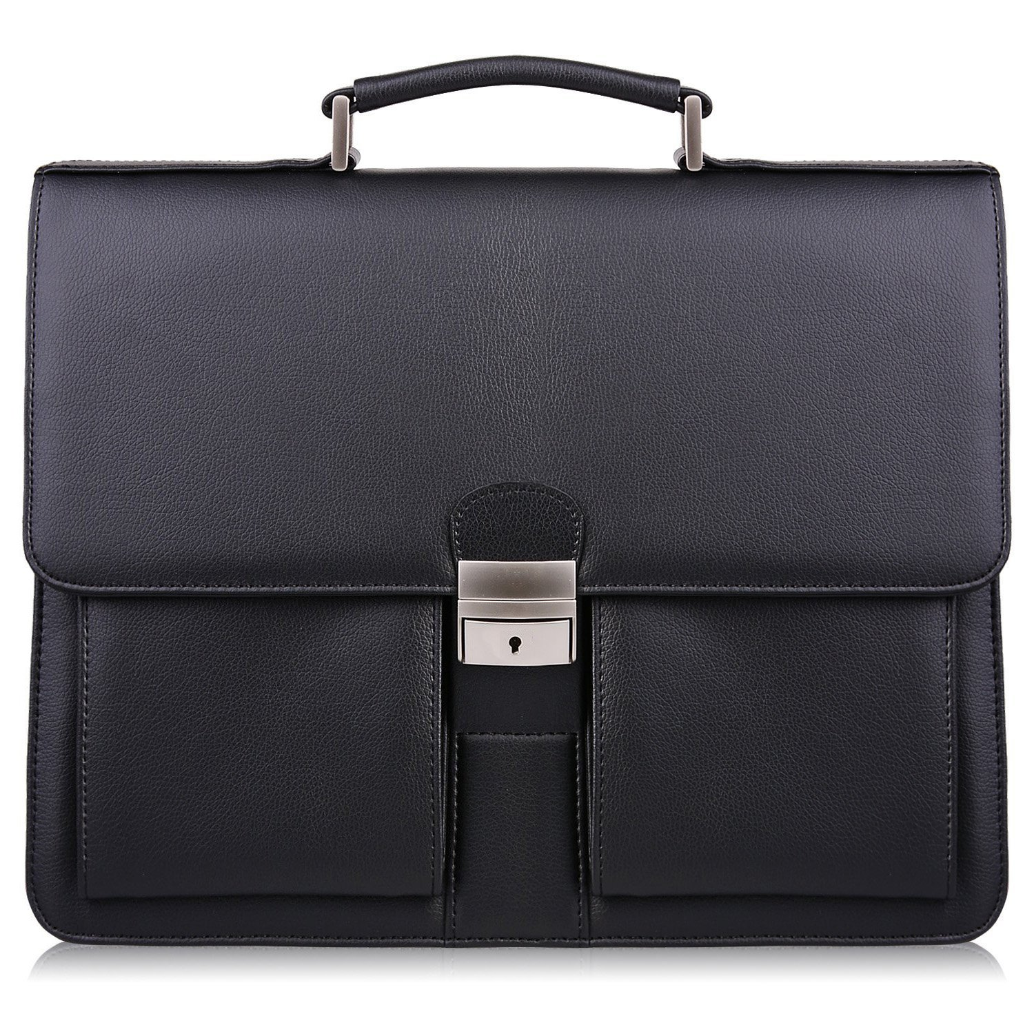 ON SALE S-ZONE Mens Microfiber Leather Flapover Briefcase Messenger Bag fit 14 inch Laptop Bag (Black-1)