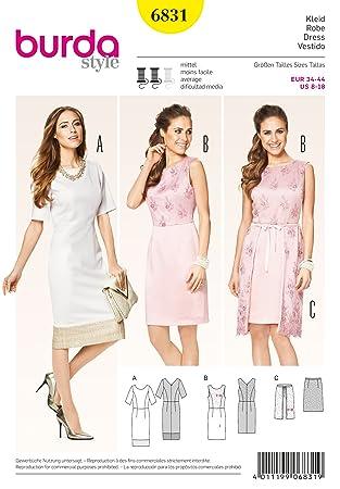 Burda Damen Schnittmuster 6831 – Semi ausgestattet Kleider mit Wrap ...