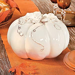Fun Express White Ceramic Pumpkin with Vine Accents (10 inch Diameter) Fall Home Decor