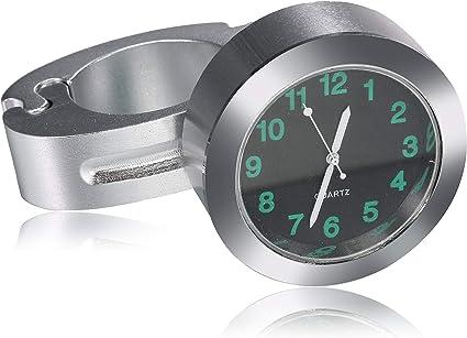 7//8 1 Universal Motorbike Handlebar Mount Dial Clock for Harley Kawasaki Yamaha and Vehicle Motorcycle Handlebar Clock