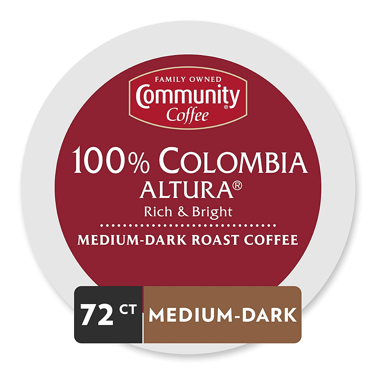 Community Coffee Colombia Altura Medium Dark Roast Single Serve, 72 Ct Box, Compatible with Keurig 2.0 K Cup Brewers, Medium Full Body Rich Bright Taste, 100% Arabica Coffee Beans