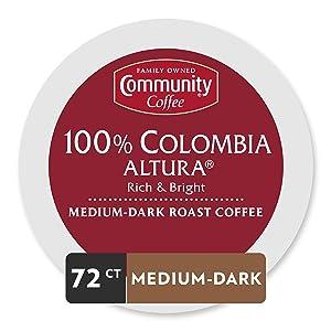 Community Coffee Colombia Altura Medium Dark Roast Single Serve, 72 Ct Box, Compatible with Keurig 2.0 K Cup Brewers, Medium Full Body Rich Bright Taste, 100% Arabica Coffee Beans