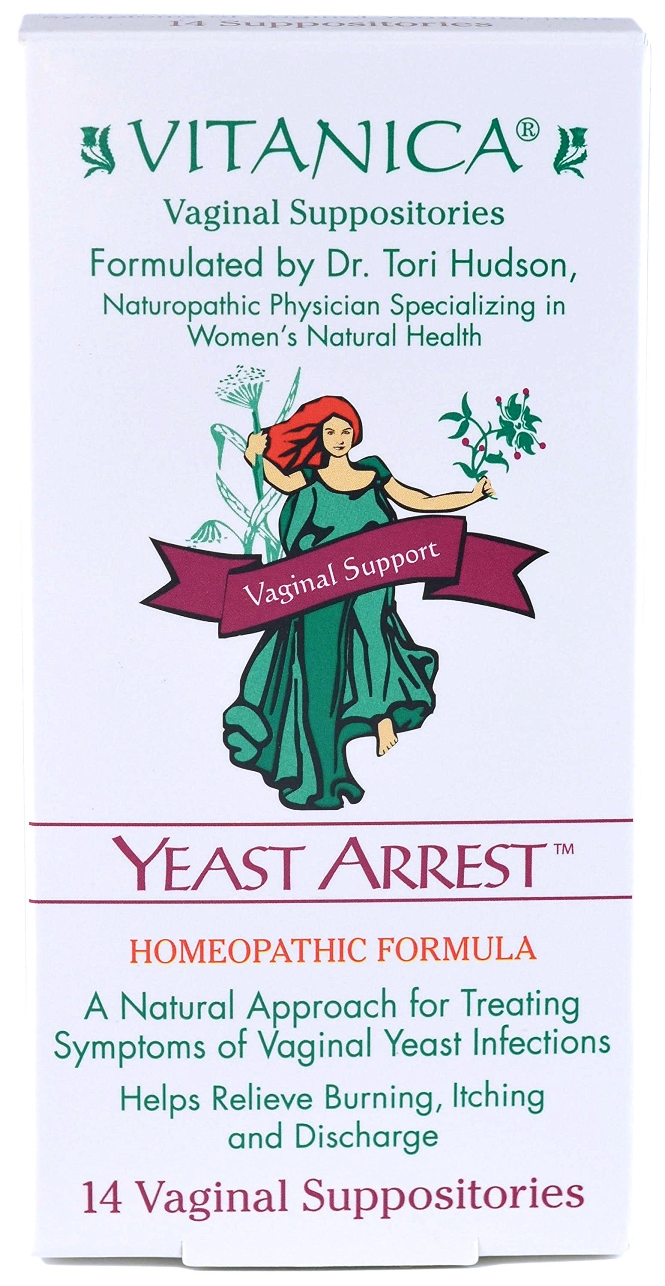 Vitanica - Yeast Arrest - Homeopathic Vaginal Suppositories - 14 Count by Vitanica