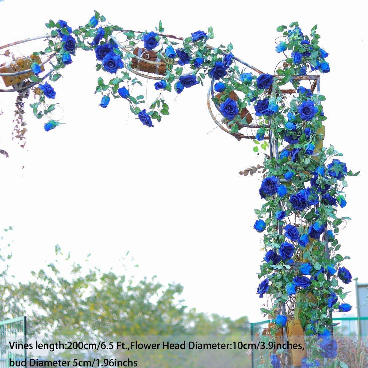 PARTY JOY Flower Garland Fake Rose Vine Artificial Flowers Hanging Rose Ivy Hanging Baskets Wedding Arch Garden Background Decor 2, 69T Red