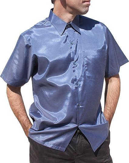 21c5858a244 RaanPahMuang Brand Light Smart Classic Cut Buttoned Thai Silk Short Sleeve  Plain at Amazon Men s Clothing store