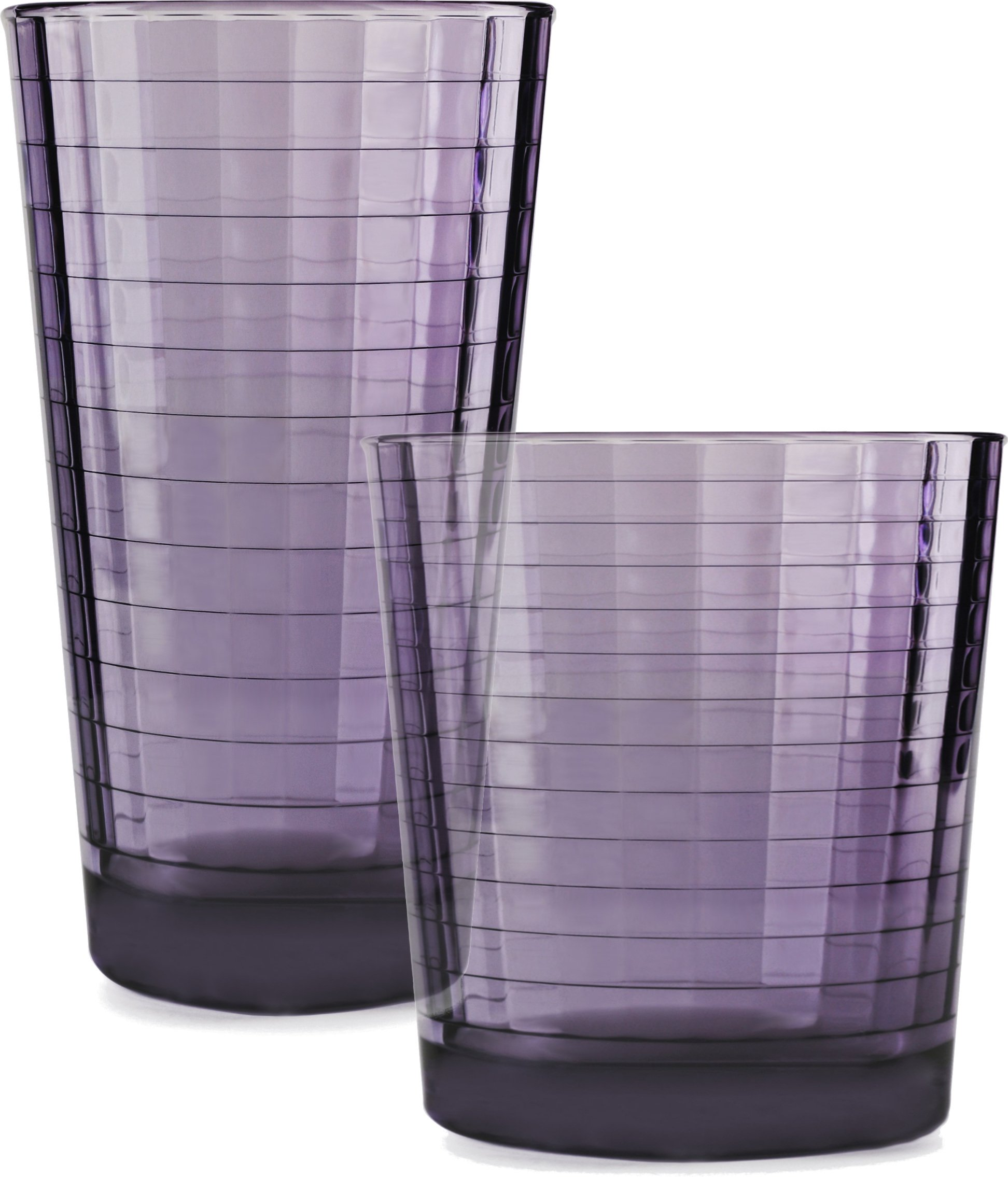 Circleware Windowpane Plum Huge Set of 16 Drinking Glasses, 8-16oz and 8-13oz Double Old Fashioned Whiskey Glass