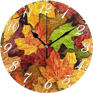 Pfrewn Wall Clock Autumn Leaves Clock Silent Non Ticking Round Wall Clocks Battery Operated Decor, Clocks 10 Inch Quartz Analog Quiet Desk Clock Bedroom Living Room for Kids