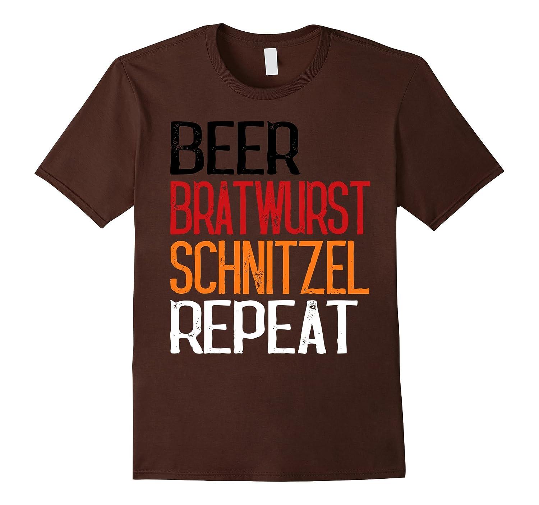 Beer Bratwurst Schnitzel Repeat Shirt Funny German Gift Tee-FL