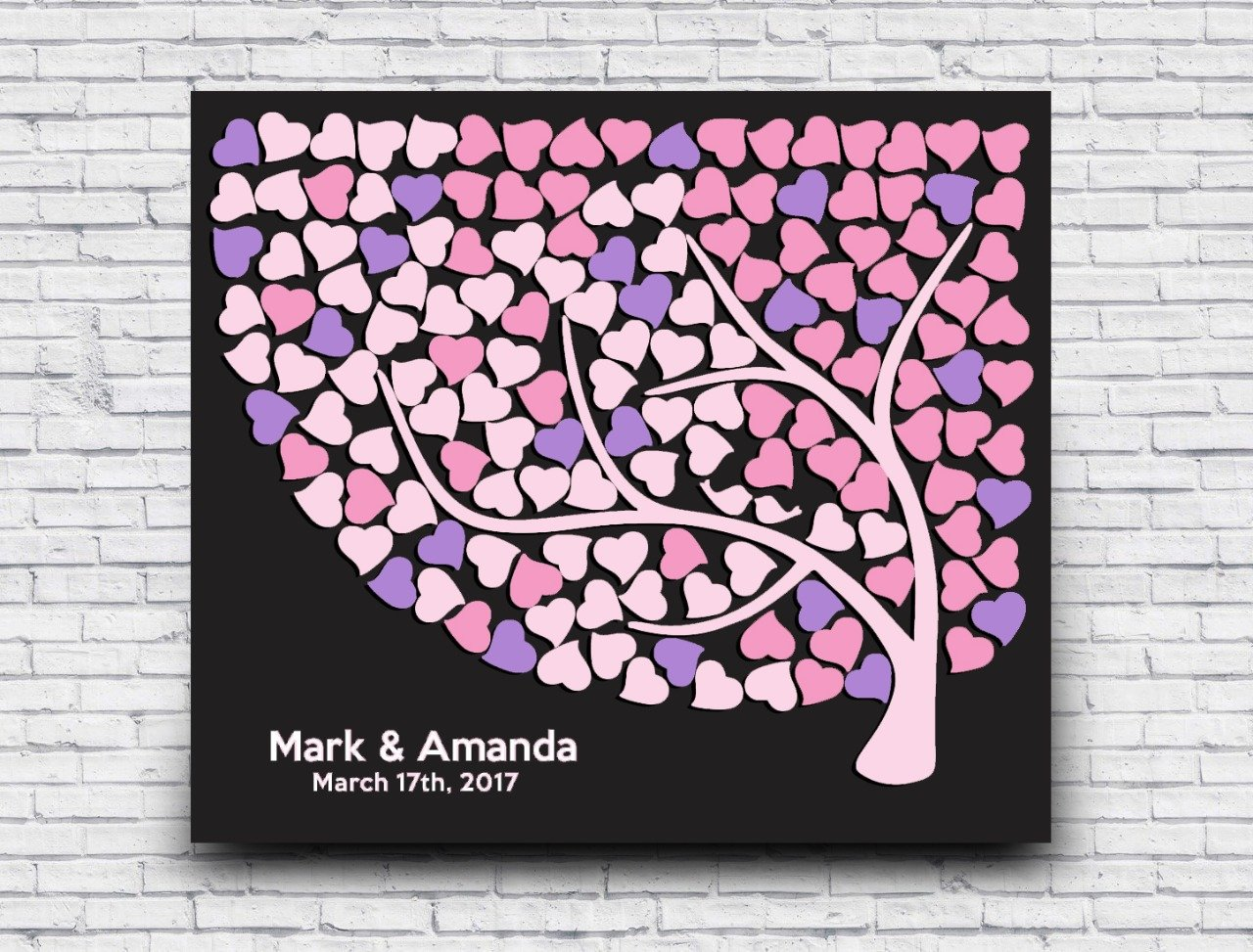 3D Wedding Guest Book Alternative Tree Wood Heart Sign Personalized Bride and Groom Name for Wedding Gifts Bridal Shower Gifts#GB-6