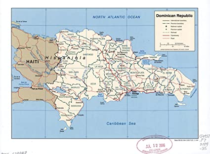Amazon.com: Map Poster - Dominican Republic. 24 X 18: Posters & Prints