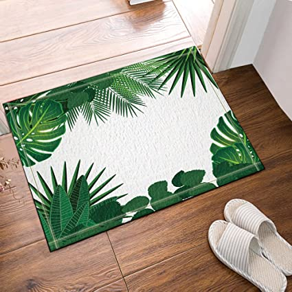 NYMB Tropical Plants Banana Leaves Palm Trees Bath Rug, Non Slip Floor  Entryways Outdoor